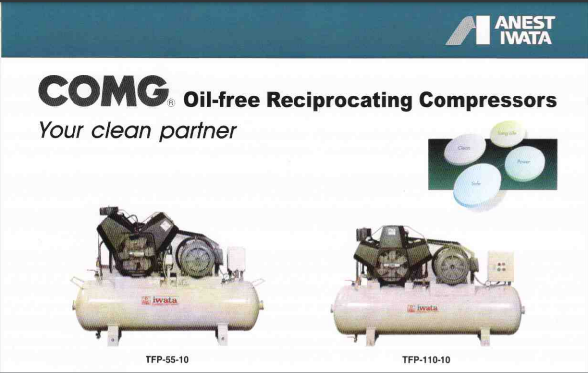 Oil free-Tank-Mount Type TFP Series Reciprocating Air Compressors Oil-Free Type